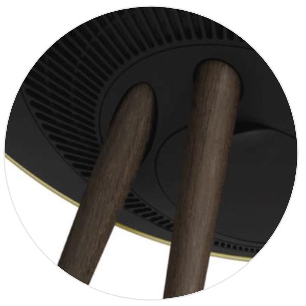 Ben i sort valnød - Close up
