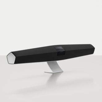 BeoSound 35 multiroom højttaler i aluminium på bordstand